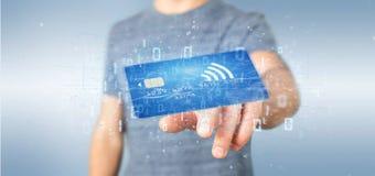 Mens die een het concepten 3d renderi houden zonder contact van de creditcardbetaling Stock Foto