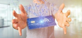 Mens die een het concepten 3d renderi houden zonder contact van de creditcardbetaling Stock Afbeelding