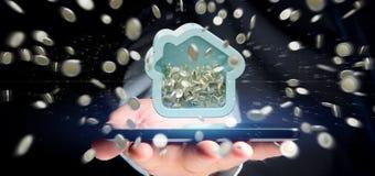 Mens die een Huis moneybox met muntstuk houden die overal 3d r omringen Royalty-vrije Stock Fotografie