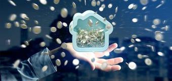 Mens die een Huis moneybox met muntstuk houden die overal 3d r omringen Stock Fotografie