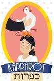 Mens die een Kip over Meisjeshoofd slingeren, Vierend Kapparot Rituele, Vectorillustratie vector illustratie