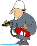 Mens die een Klasse gebruikt een Brandblusapparaat royalty-vrije illustratie