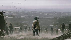Mens die een menigte van zombieën onder ogen zien vector illustratie