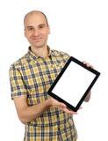Mens die een PC van de Tablet van het Stootkussen van de Aanraking houdt stock afbeelding
