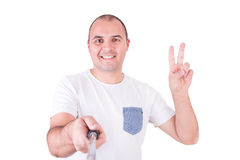 Mens die een selfie krijgen Royalty-vrije Stock Afbeeldingen