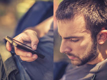 Mens die een slimme telefoon, diptych met behulp van Royalty-vrije Stock Foto