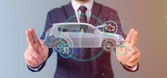 Mens die een Smartcar met het controleren het 3d teruggeven houden Stock Afbeelding