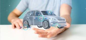 Mens die een Smartcar met het controleren het 3d teruggeven houden Stock Foto