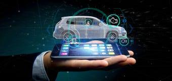 Mens die een Smartcar met het controleren het 3d teruggeven houden Royalty-vrije Stock Foto's
