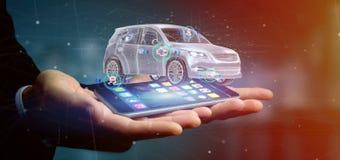 Mens die een Smartcar met het controleren het 3d teruggeven houden Stock Afbeeldingen