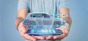 Mens die een Smartcar met het controleren het 3d teruggeven houden Stock Fotografie