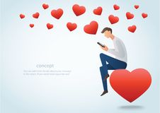 Mens die een smartphonezitting op het rode hart en velen houden hart vectorillustratie royalty-vrije illustratie