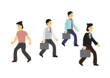 Mens die in een tegenovergestelde richting met de andere zakenlieden lopen vector illustratie