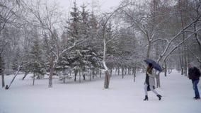Mens die een zak van het meisje in het park stelen diefstal Het concept van de misdaad Vrouw die in een de winterpark lopen, dief stock videobeelden