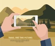 Mens die foto's van berglandschap nemen met sparren om te telefoneren vector illustratie