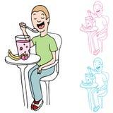 Mens die Fruit en Yoghurt eet Royalty-vrije Stock Afbeelding