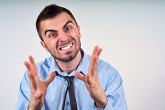 Mens die frustratie uitdrukt stock afbeeldingen