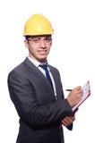 Mens die geïsoleerde bouwvakker dragen Stock Foto