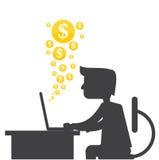 Mens die geld maken van Internet online Royalty-vrije Stock Foto