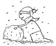 Mens die Grote Sneeuwman maken tijdens de Wintersneeuwval doen escaleren Stock Afbeelding