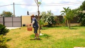 Mens die het gazon van zijn tuin met rode korrels bevruchten (4K)