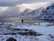 Mens die het overzees dichtbij het dorp van Ã… op Lofoten, Noorwegen bekijken Royalty-vrije Stock Foto