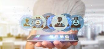 Mens die het Professionele het concept van het contactnetwerk 3d teruggeven houden Stock Fotografie
