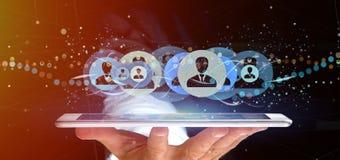 Mens die het Professionele het concept van het contactnetwerk 3d teruggeven houden Royalty-vrije Stock Afbeeldingen
