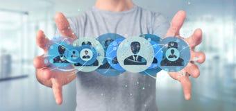 Mens die het Professionele het concept van het contactnetwerk 3d teruggeven houden Stock Foto's