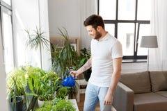 Mens die houseplants thuis water geven royalty-vrije stock fotografie