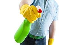 Mens die Huishoudelijk werk doet Stock Afbeeldingen