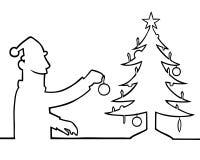 Mens die Kerstmisboom verfraait stock illustratie