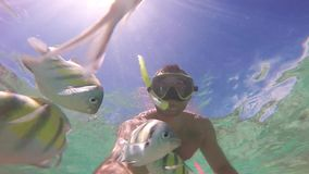 Mens die in koraalrif duiken School van vissen Onderwaterselfiescène