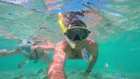 Mens die in koraalrif duiken School van vissen Onderwaterselfiescène stock videobeelden