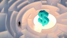 Mens die in kostuum in een labyrint of labyrint lopen die die of een rijkdom of geld zoeken zoeken door een dollarteken wordt ges stock illustratie
