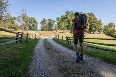 Mens die langs een landweg door landbouwgrond wandelen stock foto's