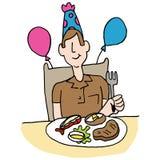 Mens die lapje vlees en zeekreeft voor zijn verjaardag hebben Royalty-vrije Stock Afbeelding