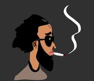 Mens die medische marihuana rookt Stock Fotografie
