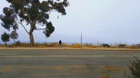 Mens die mening van de weg op het overzees nemen Stock Foto