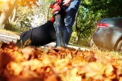Mens die met bladventilator werken: de bladeren worden gewerveld op en neer op een zonnige dag Royalty-vrije Stock Foto