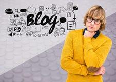 Mens die met Blogtekst denken met tekeningengrafiek stock illustratie