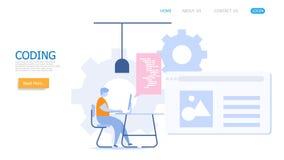Mens die met codage werken vector illustratie