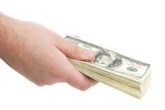Mens die met contant geld betaalt royalty-vrije stock foto's