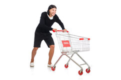 Mens die met de kar van de supermarktmand winkelen Royalty-vrije Stock Afbeelding