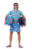 Mens die met geïsoleerde koffers reizen Stock Fotografie