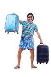 Mens die met geïsoleerde koffers reizen Stock Foto's
