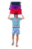 Mens die met geïsoleerde koffers reizen Stock Afbeelding