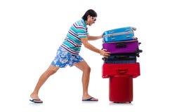 Mens die met geïsoleerde koffers reizen Stock Afbeeldingen