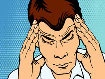 Mens die met hoofdpijn, retro pop-artstijl lijden Stock Afbeeldingen