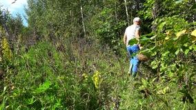 Mens die met mandhoogtepunt van paddestoelen door bos lopen stock videobeelden